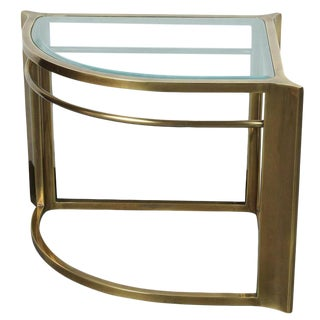 1970s Hollywood Regency Mastercraft Brass Cornet Table For Sale