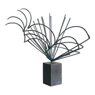 Mid Century Steel Table Top Sculpture For Sale