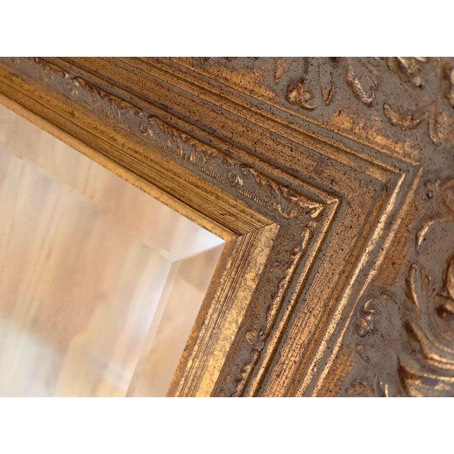 Wood Vintage Baroque Gilt Wood Rectangular Mirror 24x28 For Sale - Image 7 of 8