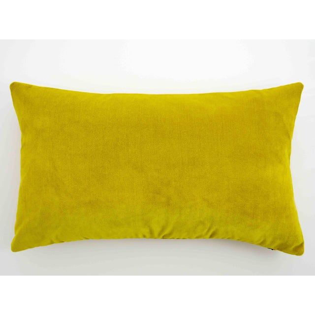 Textile FirmaMenta Italian Chartreuse Velvet Lumbar Pillow For Sale - Image 7 of 7