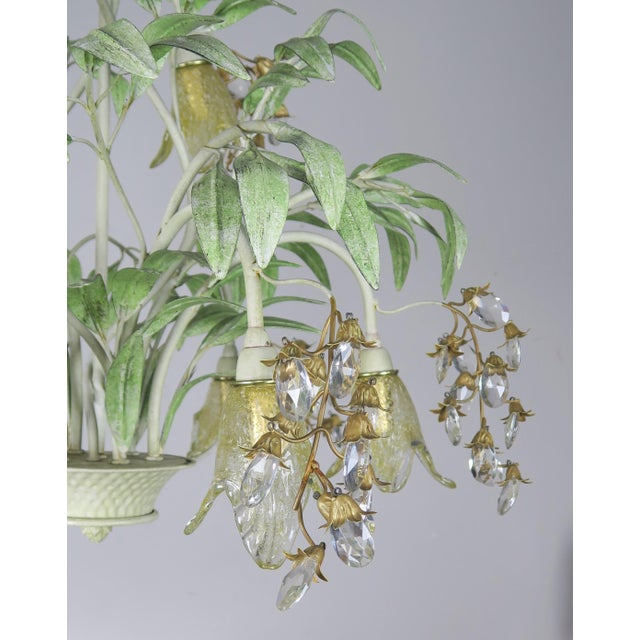 Unique Italian hand painted tole basket chandelier with hand blown Murano glass flowers and almond shaped crystals that...