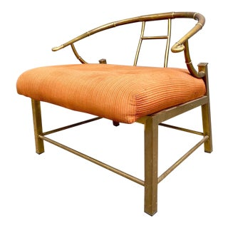 "Mid Century Brass Mastercraft Horseshoe ""emperess"" Lounge Chair For Sale"
