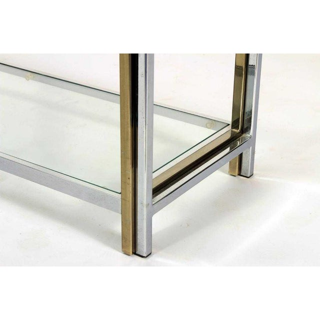Mid-Century Modern Mid Century Chrome, Glass and Brass Tone Etagere For Sale - Image 3 of 6