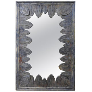French Art Deco Mirror With Zinc Petals For Sale