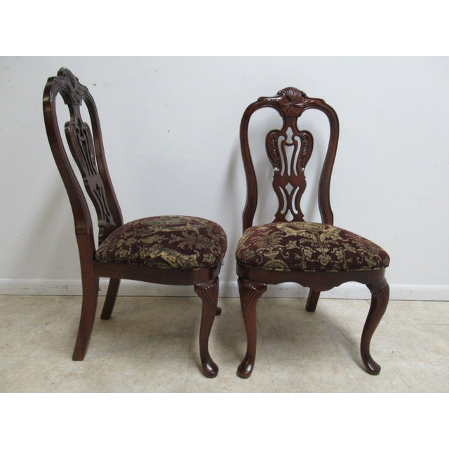 Mahogany Thomasville Solid Mahogany Chippendale Dining Chairs - A Pair For Sale - Image 7 of 10