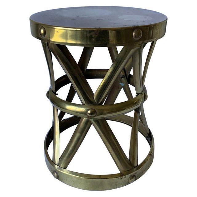 Metal 1970s Brass X-Frame Tabouret Stool For Sale - Image 7 of 7