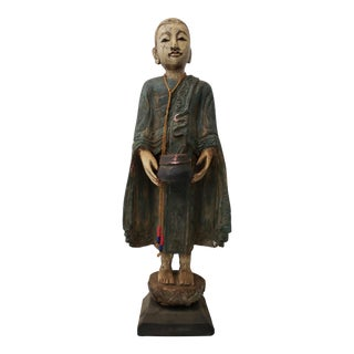 Mid 20th Century Carved and Polychrome Painted Indonesian Monk For Sale