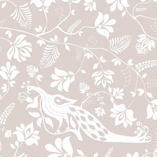 House of Harris Windwood Wallpaper, 30 Yards, White For Sale