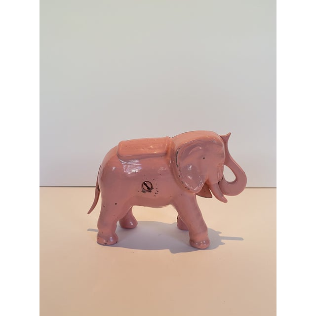 Vintage Pink Iron Mechanical Coin Bank For Sale - Image 4 of 4