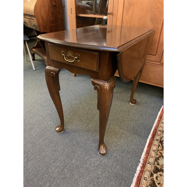 Queen Anne Style Dropleaf + Drawer Side Table For Sale - Image 4 of 11