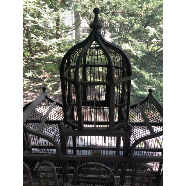Antique Victorian Iron Wire & Wood Mansion Style English Folk Art Bird Cage For Sale - Image 9 of 13