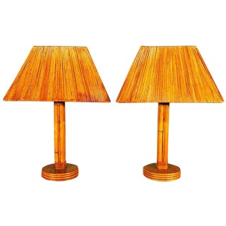 Rattan Pole Lamp With Split Rattan Lamp Shade For Sale