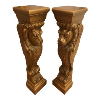 Carved Gilded Lion Pedestals Columns - a Pair For Sale