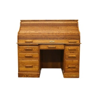 "Winners Only Solid Oak Country French 54"" Executive Roll Top Desk For Sale"