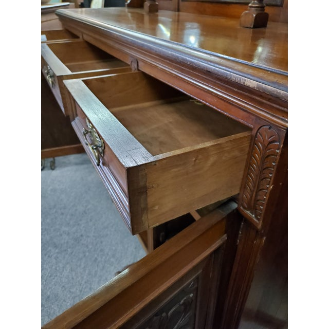Wood Early 20th Century Antique Hutch With Beveled Mirrors For Sale - Image 7 of 12