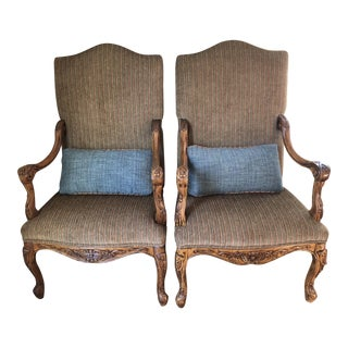 Carved High-Back Chairs - A Pair