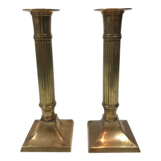 Mid 20th Century Brass Column Candlesticks - A Pair For Sale