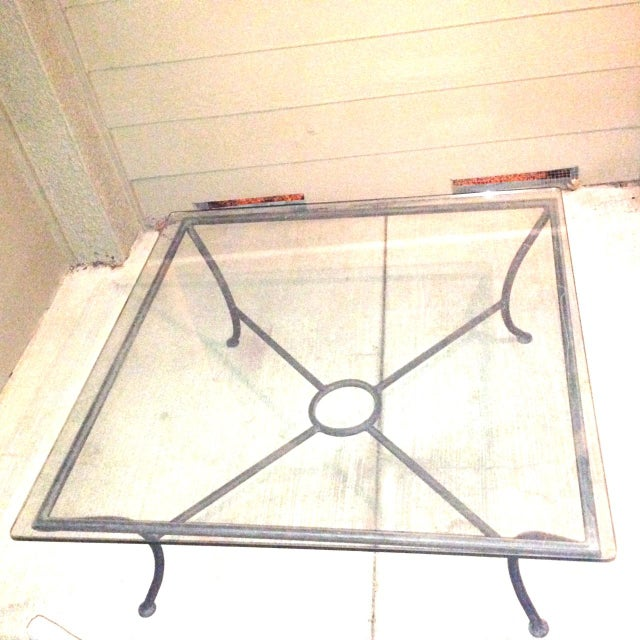 """Vintage Crate & Barrel metal coffee table with glass top. Perfect for the living room or outside. Custom cut 1/2"""" glass..."""