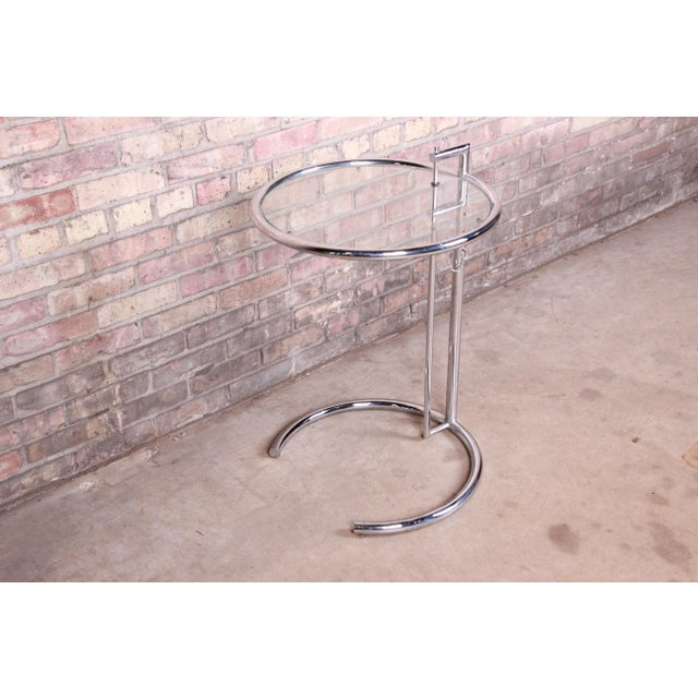 1970s Eileen Gray Chrome and Glass Adjustable Height Occasional Side Table For Sale - Image 5 of 13