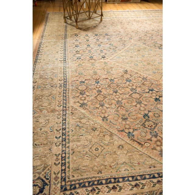 """Apricot Vintage Distressed Mahal Carpet - 9'9"""" X 12'8"""" For Sale - Image 8 of 13"""