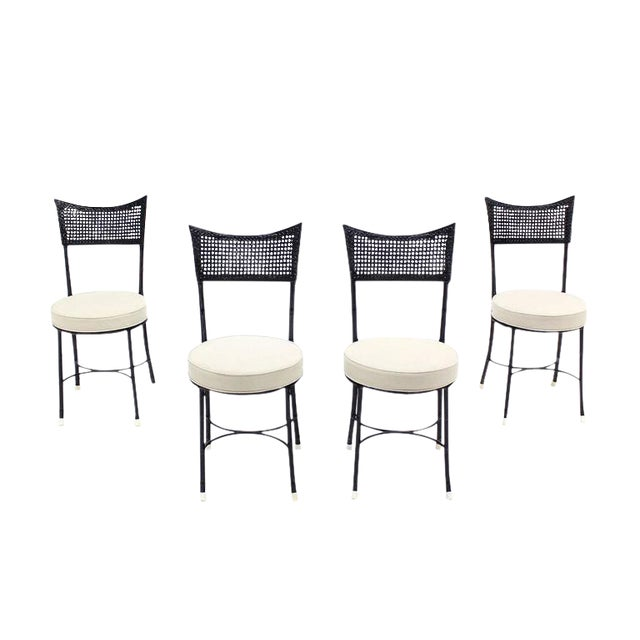 Cast Aluminum Faux Bamboo and Cane Round Seat Chairs - Set of 4 For Sale - Image 11 of 11