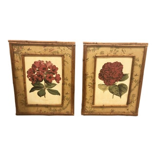 English Style Bamboo Framed Japanned Botanicals - a Pair For Sale