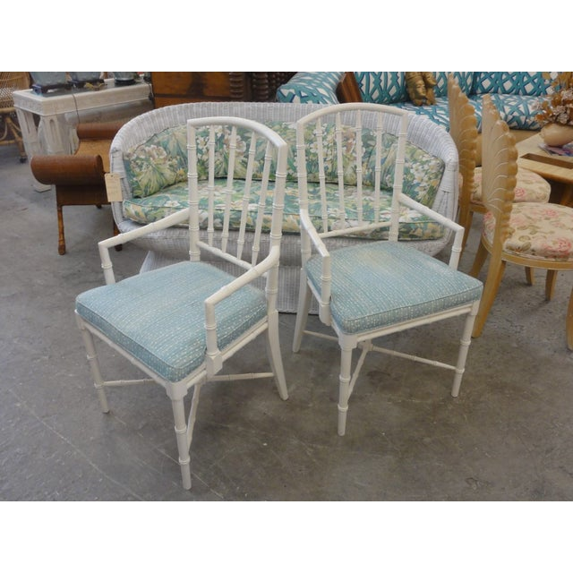 Palm Beach Faux Bamboo Arm Chairs - a Pair For Sale - Image 10 of 10