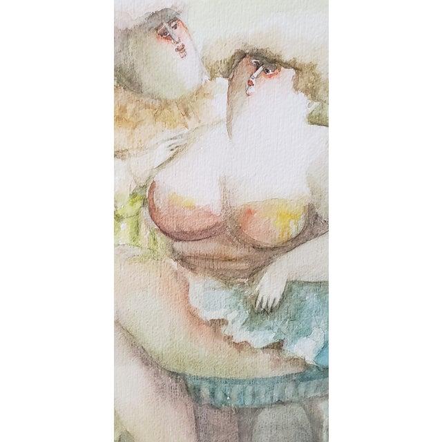 "Norha Beltran (Bolivia, 20th C.) ""Two Women"" Original Watercolor C.1980s For Sale In San Francisco - Image 6 of 7"