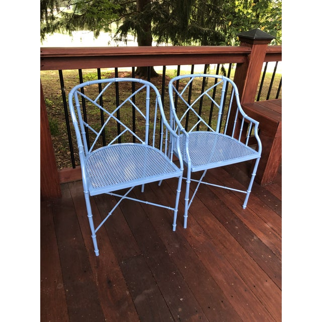 1970s Vintage Cast Aluminum Chinese Chippendale Faux Bamboo Barrel Chairs- A Pair For Sale In Cleveland - Image 6 of 13