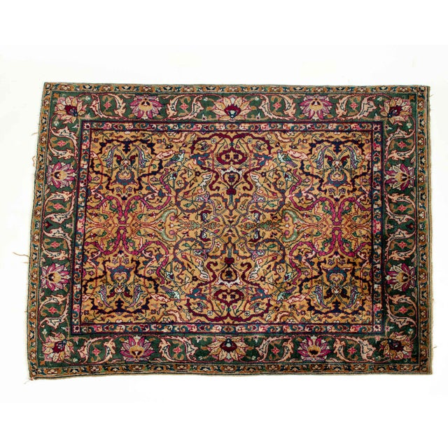 Black Persian Pure Silk Hand Knotted Area Rug - 5′2″ × 8′2″ For Sale - Image 8 of 10