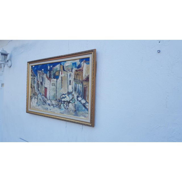 Mid-Century Modern 1950's Technique Palette Impasto Cubist Abstract Oil on Canvas Painting For Sale - Image 3 of 10