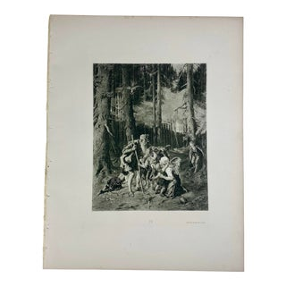 "1892 Antique Character From ""Trusty Eckart"" by Ludwig Tieck Photogravure Print For Sale"