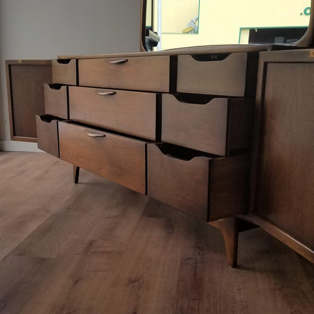 Brown 1960s Lane Perception Nine Drawer Dresser With Mirror For Sale - Image 8 of 13