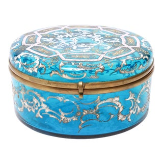 Bohemian Moser Style Enameled Glass Vanity Box For Sale