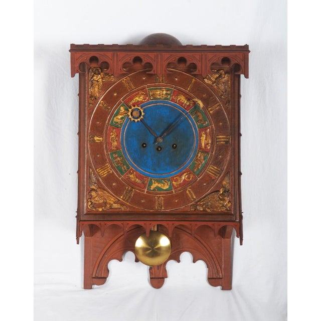 19th Century Danish Wooden Zodiac Clock in Gothic Style For Sale - Image 13 of 13