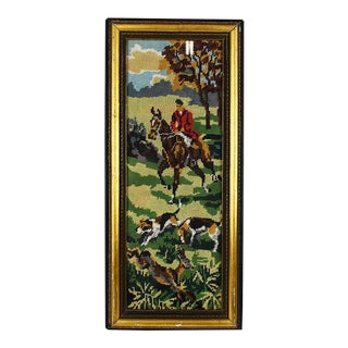 English Equestrian Needlepoint Hunting Scene in Tall Rectangular Gilt Wood Frame For Sale