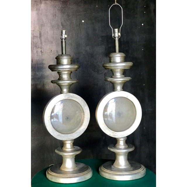 Oversize Italian Silver Leaf Table Lamps - A Pair - Image 2 of 7