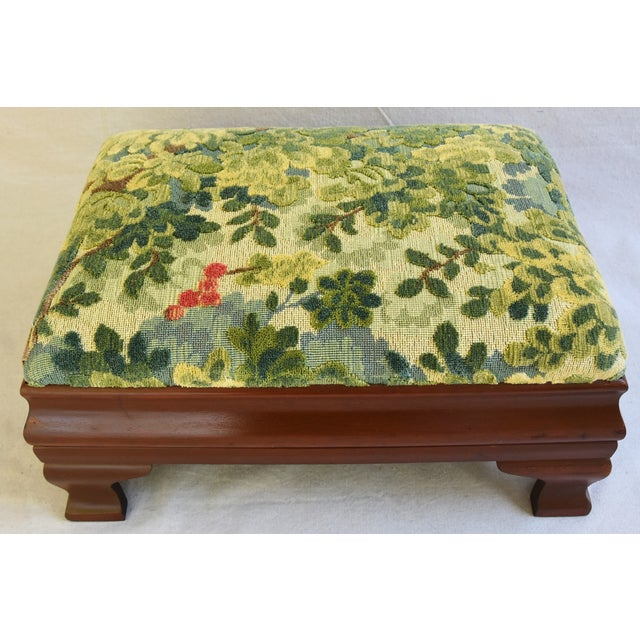 Early 1900s Foot Stool w/ Scalamandre Marly Velvet Fabric - Image 5 of 11