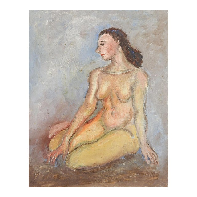 Mid-Century Modern Nude Oil Painting For Sale