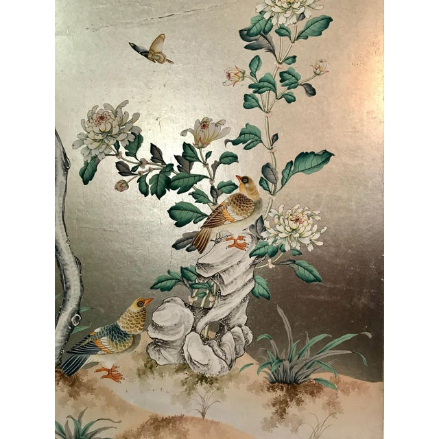 Stunning old handpainted chinoiserie wallpaper panel, silver metal leaf with bird and butterfly motif. Some creases and...