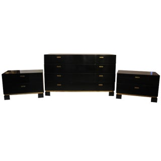 1970 French Lacquered Wood and Gilt Brass Sideboard and Pair of Drawers For Sale