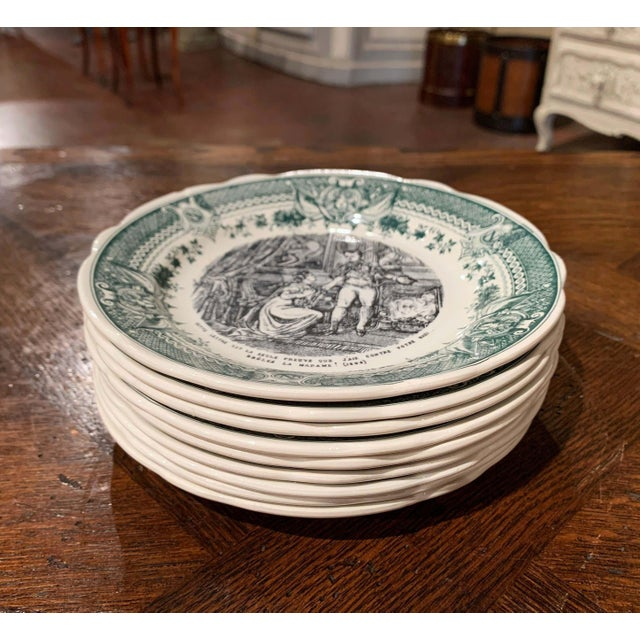 Campaign 19th Century French Painted Napoleonic Sarreguemines Ceramic Plates-Set of 9 For Sale - Image 3 of 13