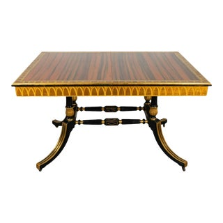 Antique Regency Style Macassar Parcel-Gilt and Ebonized Library/Dining Table For Sale