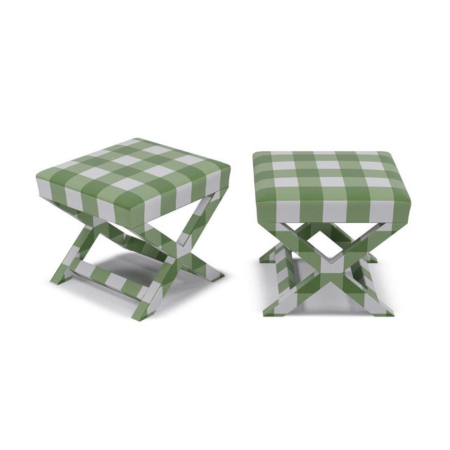 Contemporary X Bench in Mint Check For Sale - Image 3 of 4