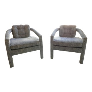 Modern Black and White Armchairs-Pair For Sale