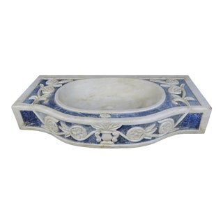 Rare Italian Blue and White Carrera Marble Sink For Sale