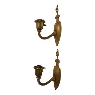 1920s Brass Flame Back Sconces - a Pair For Sale
