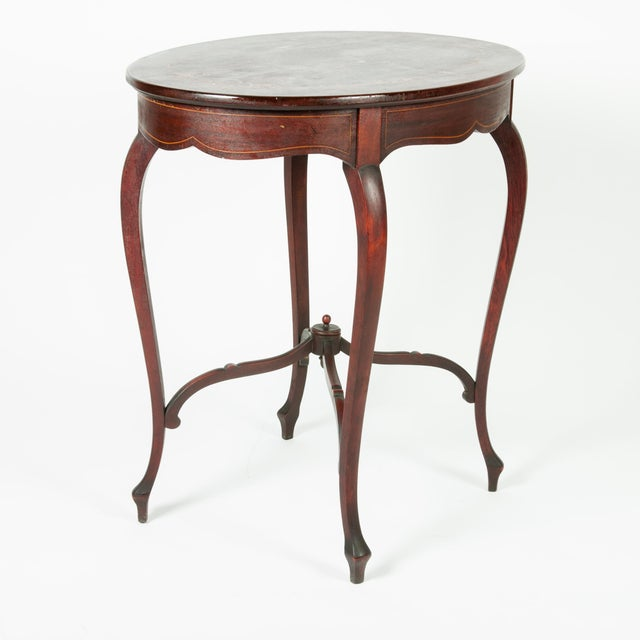 1900 - 1909 1900s Antique Inlaid Top Mahogany End Table For Sale - Image 5 of 5