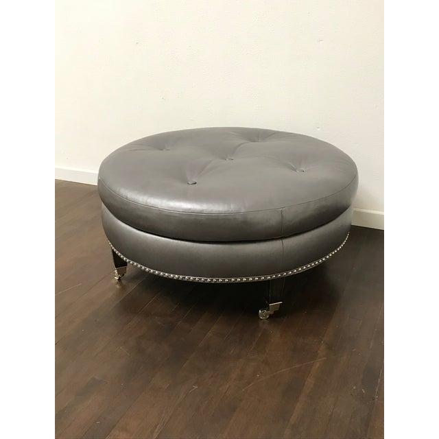 RJones Button Tufted Haddington Ottoman in Leather For Sale In Dallas - Image 6 of 6