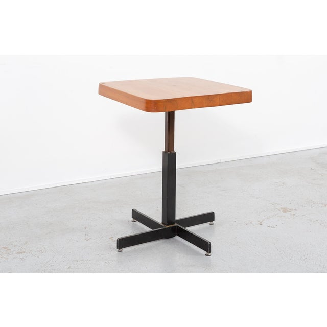 French Les Arcs Adjustable Square Table by Charlotte Perriand For Sale - Image 3 of 11
